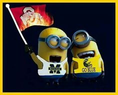 minions vs ohio, got to love them - they have great taste in teams! U Of M Football, Detroit Lions Football, Michigan Wolverines Football, College Football Teams, Michigan State Spartans, Ohio State Buckeyes, Sports Teams, Football Season, Michigan Ohio