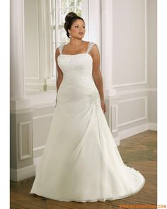 Reasonable Fashion New Simple Beaded Strap  Strapless Chiffon Long Plus SizeWedding Gowns