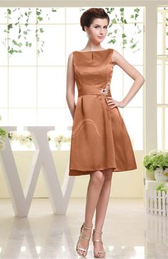 Amber Bridesmaid Dress - Plain Sabrina Sleeveless Zipper Knee Length Rhinestone