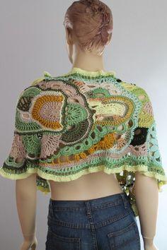 Clover Field / Summer FREEFORM Crochet Shawl / by levintovich, $165.00