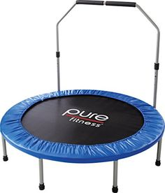 Pure Fitness 48 Mini Rebounder Trampoline with Adjustable Handrail Ages 13 -- Check out this great product. Rebounder Trampoline, Discount Beauty, Discount Travel, Fitness Gear, Workout Gear, Dream Homes, Fitness Outfits, Workout Equipment, Dream Houses