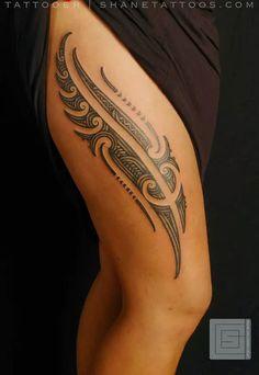 Maori Thigh Tattoo shanetattoos.com