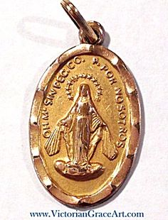 This Vintage Holy Miraculous Medal Is Layered In Yellow Gold And Features  The Blessed Mother Virgin Mary.