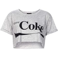 TOPSHOP Cropped Coke Tee ($12) ❤ liked on Polyvore featuring tops, t-shirts, shirts, crop tops, grey, gray tee, shirt crop top, grey crop top, grey t shirt and grey top