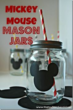 Mickey Mouse Mason Jars with Chalkboard Labels! this is a good replacement for your Mickey cup. Theme Mickey, Mickey Mouse Bday, Mickey Mouse Parties, Mickey Party, Mickey Mouse Clubhouse, Mickey Mouse Birthday, Mickey Minnie Mouse, Disney Parties, Elmo Party