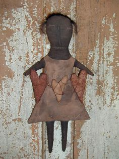Primitive E-Pattern Doll with Hearts Mattie by Walnut Ridge Primitives Instant Download PDF