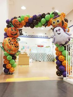 Halloween-themed square balloon arch