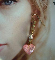 Pink Graffiti Heart Earrings