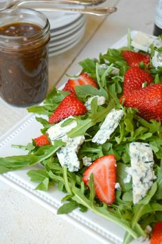Arugula, Strawberry, Blue Cheese Salad with Sherry Vinaigrette - Gonna Want Seconds