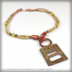 Necklace Antique Venetian Beads Old Bronze Pendant African | eBay
