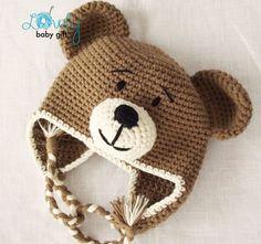 Earflap Teddy Bear Hat Crochet Pattern, Toddler Hat, Baby Winter Hat Pattern, from LovelyBabyGift on Etsy. Crochet Bear Hat, Crochet Animal Hats, Crochet Baby Hat Patterns, Crochet Dolls, Crochet Toddler Hat, Booties Crochet, Crochet Stitches, Crochet For Kids, Cute Crochet