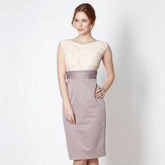 Debut Taupe lace shift dress- at Debenhams.com
