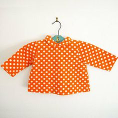 Image of blouse coton à pois T/6 MOIS // vintage baby dotted cotton blouse