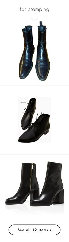 """""""for stomping"""" by toppingu ❤ liked on Polyvore featuring shoes, boots, footwear, black, fillers, black shoes, jil sander shoes, bootie boots, shootie shoes and black shootie"""