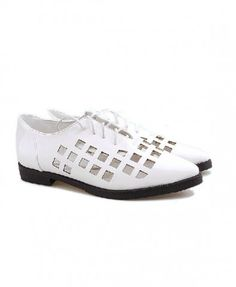 Retro White Lace Up Flat Shoes