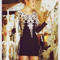 Black dress, white lace