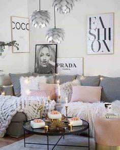 Living Room Decor Cozy, Living Room Grey, Living Room Lighting, Home Living Room, Apartment Living, Living Room Designs, Cozy Apartment, Bedroom Decor, Pink Living Rooms