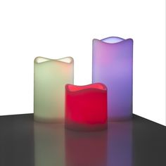 faa1e97098a Pack de velas led con mando a distancia.pack de 3 velas led multicolor