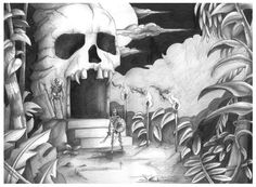 The skull head would be excellent for the land of the undead scene in the odyssey. along with the dimly lit set the shrubbery could be highlighted with dark colors, but the torches can be the only thing that glows, creating a creepy atmosphere.