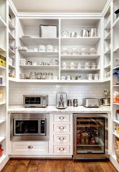 Butler pantry with ugly space-sucker microwave and mini frig. This is pretty similar size to our pantry, too. Home Design, Küchen Design, Design Case, Interior Design, Design Ideas, Rack Design, Storage Design, Butler Pantry, Kitchen Pantry