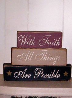 ***chez so*** Faith Stacking Blocks 2x4 Crafts, Wood Block Crafts, Scrap Wood Projects, Pallet Crafts, Primitive Crafts, Wooden Crafts, Crafts To Make, Primitive Signs, Primitive Mantels