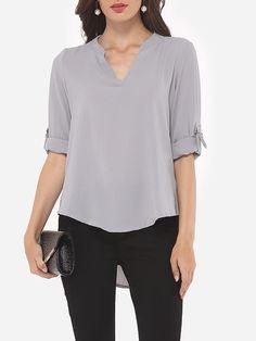 Plain Dip Hem Elegant V Neck Blouse Only $20.95 USD More info...