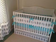 Adorable gray aqua and white modern elephant crib bedding for nursery :-)