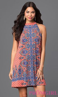 Short Print Shift Dress by As U Wish at PromGirl.com