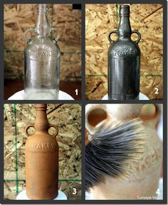 turn glass bottle or vase into terra cotta look alike Choose your vessel. Dry brush the Terra Cotta on. Dry brush the Old Ochre – but do not use strokes. Just slap or tap it on in a random pattern. Wine Bottle Art, Wine Bottle Crafts, Jar Crafts, Crafts To Do, Diy Craft Projects, Craft Ideas, Altered Bottles, Bottles And Jars, Glass Bottles
