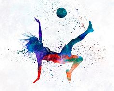 Woman soccer player 08 - Fine Art Print Glicee Poster Home Watercolor sports Gift Room Children's Illustration Wall - SKU 2296 Soccer Pro, Soccer Players, Football Soccer, Soccer Ball, Alabama Football, Soccer Cleats, American Football, Club Soccer, Live Soccer
