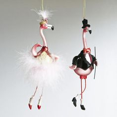 Glass Newlywed Flamingo Ornaments, Set of 2 | World Market