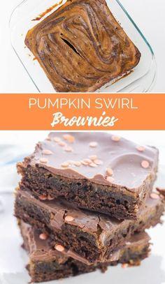 Pumpkin Swirl Brownies from The Rockstar Mommy Pumpkin Recipes, Fall Recipes, Holiday Recipes, Pumpkin Pumpkin, Pumpkin Brownies, Homemade Brownies, Baking Recipes, Dessert Recipes, Easy Summer Desserts