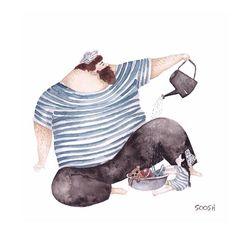 La relation idéale pèrefille en aquarelles par Soosh  Dessein de dessin