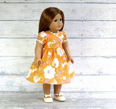 American Girl Doll Clothes School Dress Peach by SewFunDollClothes