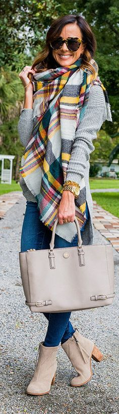 PLAID BLANKET SCARF + SWEATER TUNIC / Fashion By Sequins And Things