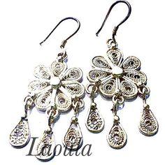 Boucles d'oreilles argent en filigrane pendantes, bijoux ethniques