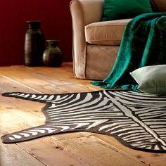 Black and off-white Zebra Crewel Rug Hand-Crafted by artisans in India via worldmarket.com/craft  #CRAFTBYWORLDMARKET