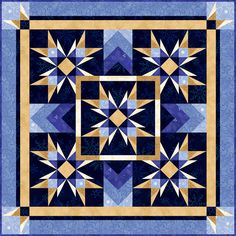 "Guiding Lights 57"" square lap quilt.  No paper piecing, no templates, no special rulers."