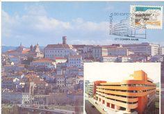 Postal com carimbo comemorativo da inauguração da EC Fernão Magalhães de Coimbra de 8/4/1986 sobre selo de 2$50 da emissão Arquitectura Popular Portuguesa