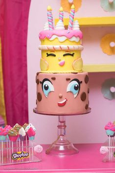 How cool is the birthday cake at this Shopkins Birthday Party!! See more party ideas and share yours at CatchMyParty.com #shopkins #birthdaycake