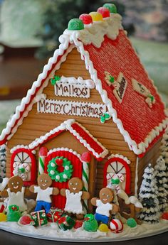 Our Large Christmas Gingerbread House with gingerbread people!  From The Solvang Bakery...we ship throughout the country.
