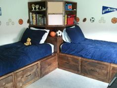 Best Bedroom Ideas For Your Twins That Make Your Children Happy - Home of Pondo - Home Design Corner Twin Beds, Bed In Corner, Corner Hutch, Corner Unit, Boys Bedroom Furniture, Boys Bedroom Decor, Bedroom Ideas, Diy Furniture, Modern Furniture