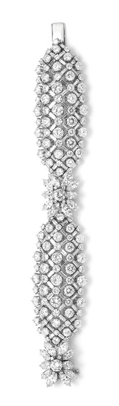 Harry Winston vintage 1959 diamond lattice bracelet, set with diamonds of 58.07ct, as worn by Charlize Theron at the 2013 Oscars.