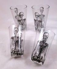 SKELETON Drinking Glass Set of 4 Gothic Halloween Party Decor Dept 56 NEW