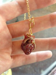 Anatomical heart necklace glass by uniquelywed on Etsy