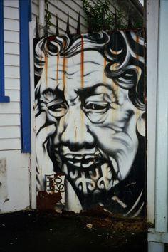 This is the gate of a tatoo shop of of K' Road in Auckland City, late Elderly Maori woman graf Graffiti Murals, Mural Art, Wall Murals, Street Art Banksy, Best Street Art, Street View, Maori Designs, Art Rules, Different Kinds Of Art