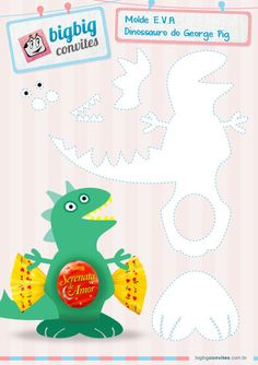 Model EVA George Pig and the Dinosaur Peppa E George, George Pig Party, Dinosaur Party, Dinosaur Birthday, Finger Puppet Patterns, Dragon Party, Candy Crafts, Toy Craft, Party Themes