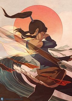 """ctchrysler:    Spiritual State(click for full ver.)by dCTb Probably the last Korra related piece I'll do for a while. I had a lot of fun (especially with the water and """"earth"""") although coloring it was super challenging. Legend of Korra © Bryan Konietzko & Michael Dante DiMartinoArtwork © dCTbAll work done in GIMP    •Style inspired by ~kidchan•Title is from the amazing song,""""Spiritual State""""by Nujabes feat Uyama Hiroto[link]I could listen to that song on loop forever.•photo of ..."""