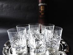 6 Crystal Whiskey Glasses Whisky Tumblers Scotch Glass Low