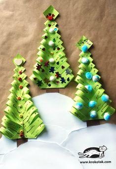 Paper Christmas Tree Crafts For Kids Christmas Tree Paper Craft, Christmas Origami, Cool Christmas Trees, Christmas Crafts For Kids, Christmas Projects, Kids Christmas, Holiday Crafts, Christmas Decorations, Christmas Ornaments